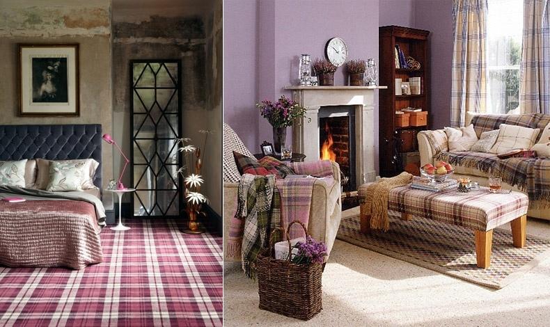 Χαλιά ή ριχτάρια σε καρό μοτίβα, σε σπίτια με πιο κλασική αλλά και πιο μοντέρνα διακόσμηση δίνουν ένα εκλεκτικό στίγμα