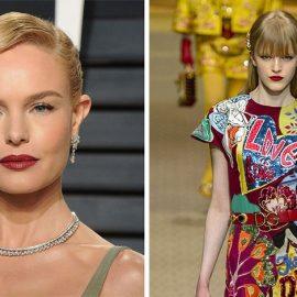 Επιλέγοντας μια σατέν υφή, κερδίζουμε και μια υποψία λάμψης, όπως τα χείλη της Kate Bosworth // Με την υπογραφή Dolce & Gabbana, το σκούρο χρώμα του κερασιού πρωταγωνιστεί