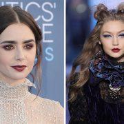 Το κόκκινο της Βουργουνδίας είναι μεθυστικό στα χείλη της Lilly Collins αλλά και στην πασαρέλα φθινόπωρο 2018 - χειμώνας 2019 στην Anna Sui