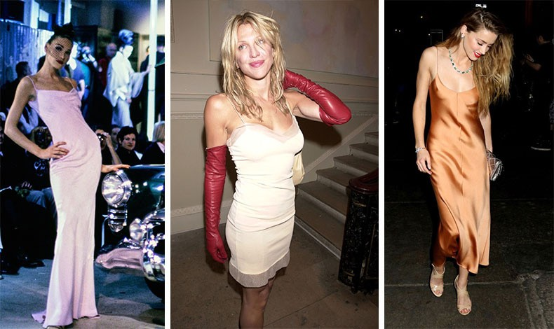 Η Carla Bruni με slip dress από την αξέχαστη επίδειξη του John Galliano το 1995 // Η Courtney Love υπήρξε εξίσου φανατική του φορέματος-κομπινεζόν, στο οποίο είχε δώσει επαναστατική αύρα τη δεκαετία του '90, ενώ υιοθέτησε τη chic εκδοχή του το 2017!