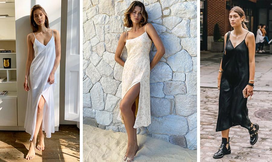 Η σέξι εκδοχή ενός slip dress // «Μάθημα» θηλυκότητας σε total λευκό! // Συνδυάστε ένα απλό, χυτό slip dress με ίσια παπούτσια για όλες τις ώρες
