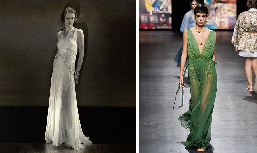 Μοντέλο με slip dress Lanvin, 1931 φωτογράφος  Edward Steichen για το Vogue, Αύγουστος, 1931 και η σύγχρονη εκδοχή του σε υπέροχο πράσινο, Dior