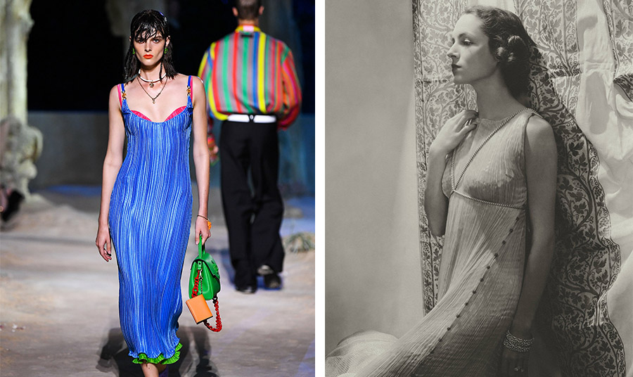 Slip dress με γκοφρέ ύφασμα, άνοιξη-καλοκαίρι 2021, και η William Wetmore με ανάλογο φόρεμα του Mariano Fortun το 1935
