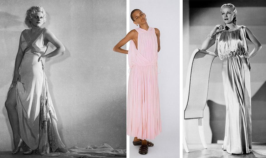Μάξι slip dress και σέξι πόζα για την Τζιν Χάρλοου το 1932 // Ροζ slip dress με πτυχώσεις, άνοιξη-καλοκαίρι 2021, Proenza Schouler // Σατέν με πτυχώσεις για την Τζίντζερ Ρόντζερς το 1935