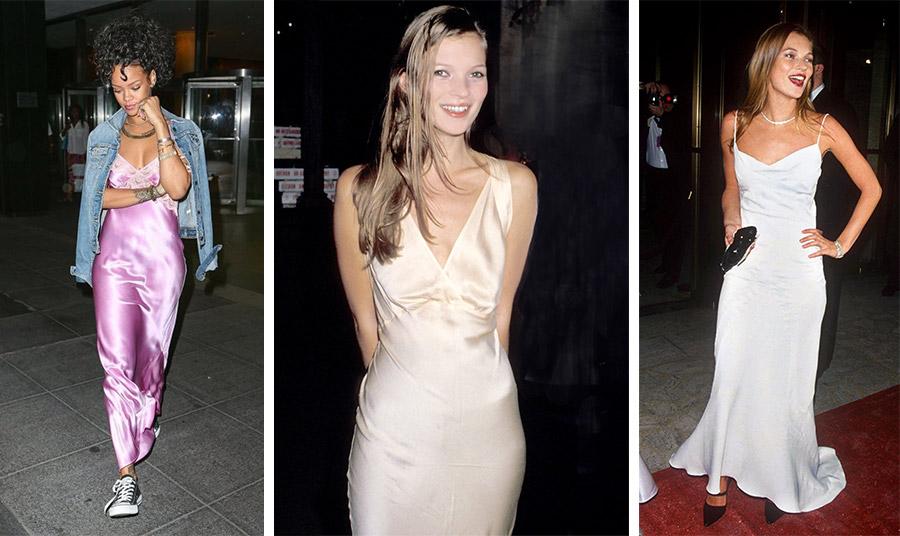 Η Ριχάνα φορώντας το φόρεμα-κομπινεζόν σε casual εκδοχή με sneakers και τζιν σακάκι // Η Κέιτ Μος «ταυτίστηκε» με το slip dress, όσο καμία!