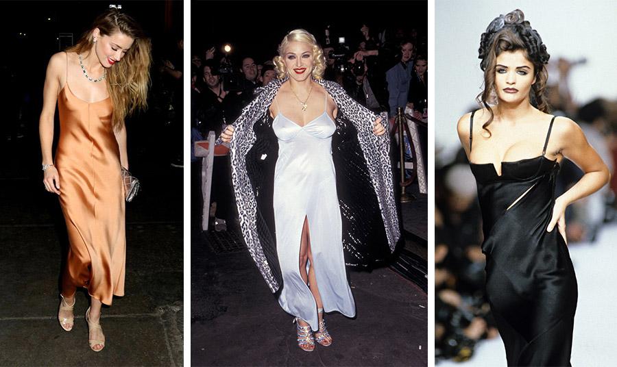 Η Courtney Love υπήρξε εξίσου φανατική του φορέματος-κομπινεζόν, στο οποίο είχε δώσει επαναστατική αύρα τη δεκαετία του '90, ενώ υιοθέτησε τη chic εκδοχή του το 2017! // Η Μαντόνα με λευκό slip dress και μεγάλο σχίσιμο το 1995 // Το super model Helena Christensen στην πασαρέλα του John Galliano την άνοιξη του 1992