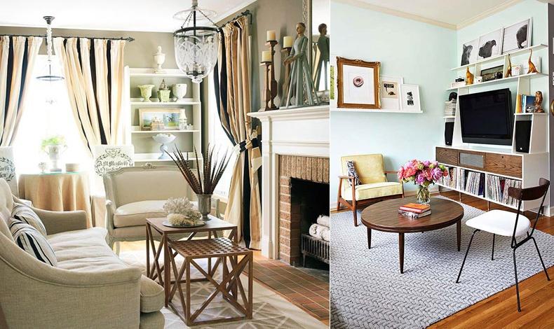 Το λευκό χρώμα στο ταβάνι και ένα εντυπωσιακό φωτιστικό μεγαλώνουν τον χώρο // Φροντίστε τα έπιπλα να είναι, όσο το δυνατόν, πιο ψηλά και με μακριά πόδια