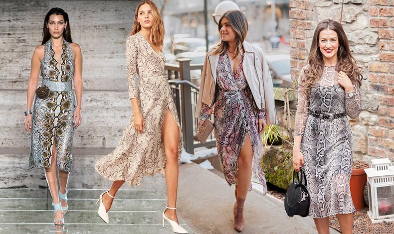 Η πιο απλή πρόταση για να φορέσετε την τάση είναι το φόρεμα. Μίνι ή μάξι, το snakeskin print μπορεί να κάνει την εμφάνιση σας εντυπωσιακή. Ανάλογα με το στιλ και τους συνδυασμούς με τα αξεσουάρ είναι κατάλληλο για το βράδυ, για το γραφείο ή απλά για την πρωινή σας βόλτα