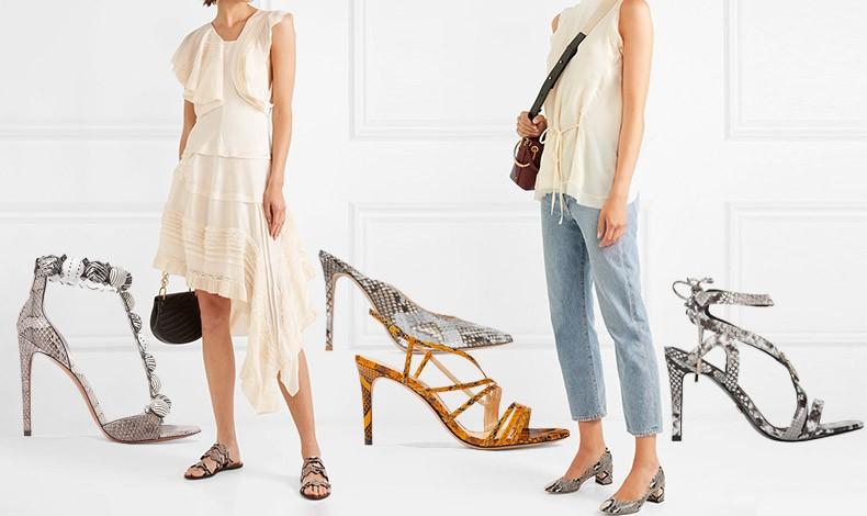 Εξαιρετική ιδέα για να υιοθετήσετε το print φίδι είναι τα παπούτσια. Συνδυάστε τα με μονόχρωμα φορέματα ή με το τζιν σας και ακολουθήστε τα «φιδίσια» βήματα της μόδας! Ψηλοτάκουνα πέδιλα, Alaia // Snake print με γαλάζιες-γκρι αποχρώσεις, Gianvitto Rossi // Πέδιλο με τύπωμα πύθωνα, Alexander Birman // Πέδιλο, Laluna