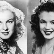 Η Μέριλιν Μονρόε μόλις 15 ετών το 1941 με τα φυσικά σκούρα καστανά μαλλιά της (δεξιά) // Όταν έγινε ξανθιά, το 1947 (αριστερά)