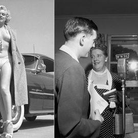 Η Μέριλιν ποζάρει με μπικίνι μπροστά από μία Pontiac στο Λος Άντζελες το 1950 // Στον ραδιοφωνικό σταθμό Williamsburg στο Μπρούκλιν το 1949