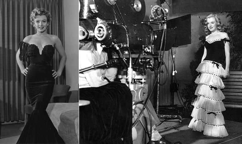 Με βραδινή τουαλέτα το 1955 // Η Μέριλιν με μία υπέροχη φούστα γεμάτη βολάν (τόσο της μόδας και το φετινό καλοκαίρι) κατά τη διάρκεια ενός γυρίσματος το 1946