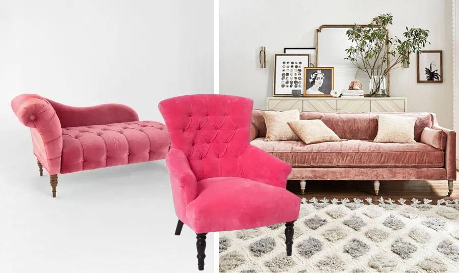 Κλασικά έπιπλα ντυμένα από βελούδο σε αποχρώσεις του ροζ και του φούξια που δίνουν μοντέρνο αέρα