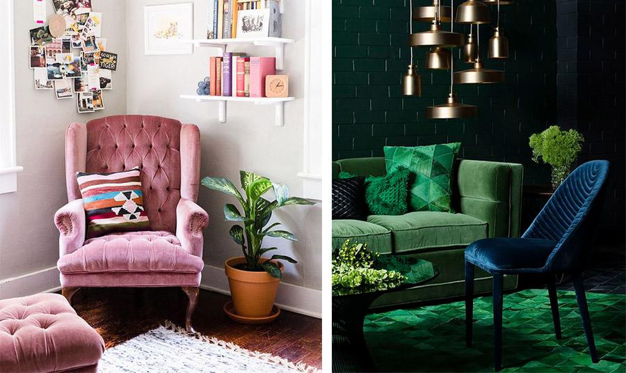 Δοκιμάστε να ντύσετε για παράδειγμα πιο μοντέρνες καρέκλες-πολυθρόνες στην τραπεζαρία σας ή μία μπερζέρα με το κατά τα άλλα κλασικό ύφασμα