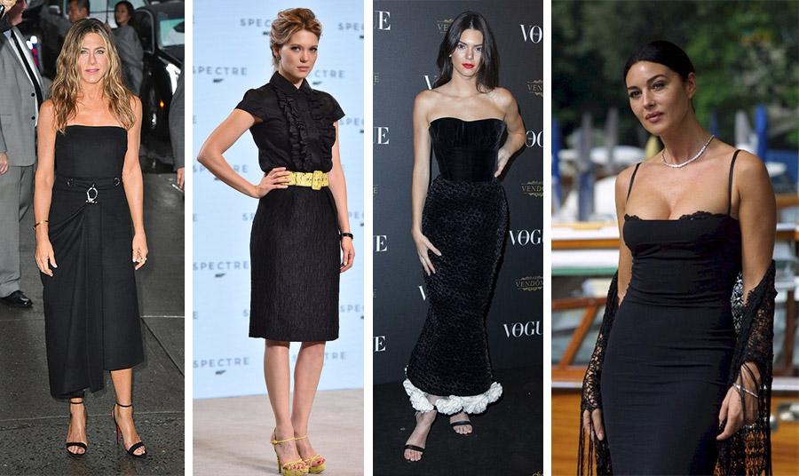 Το μαύρο φορεμένο με στιλ! Μίντι φόρεμα για την Τζένιφερ Άνιστον // Με κίτρινα λαμπερά αξεσουάρ για την Lea Seydoux // Μακρύ βελούδο με λευκά βολάν για την Κένταλ Τζένερ // Εντυπωσιακή στα μαύρα η Μόνικα Μπελούτσι