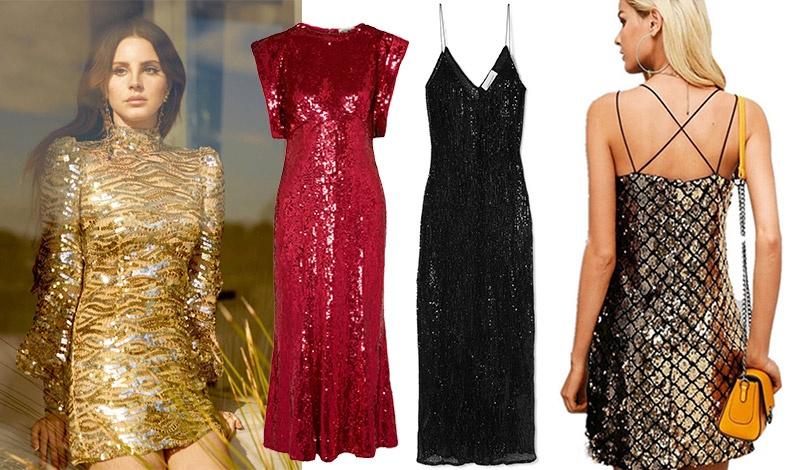 Κοντό χρυσαφί φόρεμα για την Lana del Rey // Μακριά κόκκινη τουαλέτα με παγιέτες, Attico // Μαύρο μάξι φόρεμα με παγιέτες, Georgia Alice // Μίνι φόρεμα με τιράντες και για το πρωί;