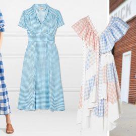 Λευκά-μπλε καρό, Μara Hoffman // Γαλάζιο-λευκό, HVN // Ιδιαίτερο κόψιμο και παστέλ καρό, Loewe // Ένα μίνι καρό μπορεί να φορεθεί και με τα sneakers σας