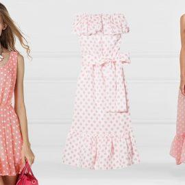 Τα ρομαντικά ροζ πουά χαρίζουν ένα κοριτσίστικο στιλ // Έξωμο πουά φόρεμα ή μακρύ με τιράντες, Liza-Marie Fernandez
