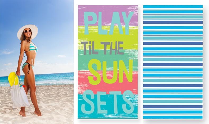 Η αίσθηση του γαλάζιου! Συνδυάστε με το γαλάζιο μαγιό σας τη ριγέ πετσέτα Roberto ή αν είστε πιο? παιχνιδιάρα την πετσέτα Sunsets, ΝΕF-NEF HOMEWARE (13,50€ και 16,50€ αντίστοιχα)