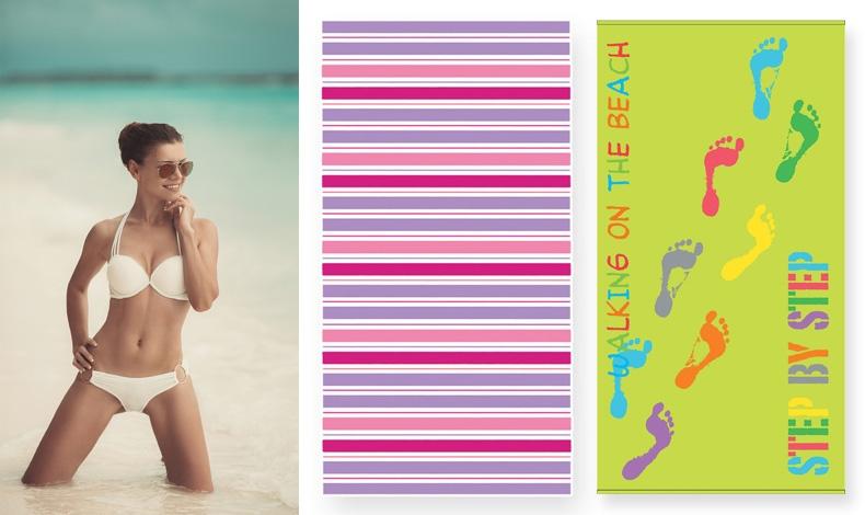 Το λευκό μαγιό δίνει άπειρες εκδοχές! Διαλέξτε μία υπέροχη πετσέτα Roberto σε αποχρώσεις ροζ και λιλά ή αφήστε τα ίχνη σας στην άμμο με την Step, ΝΕF-NEF HOMEWARE (13,50€ και 16,50€ αντίστοιχα)
