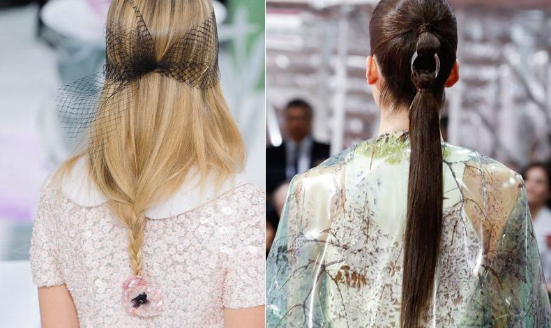 Μαλλιά λυτά που συγκρατούνται από μαύρο διχτάκι και τελειώνουν σε κοτσιδάκι με κοκαλάκι-λουλούδι (Chanel) // Μακριά ίσια αλογοουρά πιασμένη με μεταλλικό κρίκο (Christian Dior)