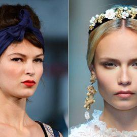 Minimal στιλ, μία απλή κορδέλα δεμένη φιόγκος (Alexis Mobile) // Στέκα από δέρμα διακοσμημένη με λουλούδια και κοσμήματα (Dolce & Gabbana)