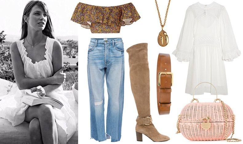 Η Τζέιν Μπίρκιν με ανάλαφρο λευκό φόρεμα // Κοντό τοπ, Philosophy di Lorenzo Serafini // Φαρδύ τζιν, Frame Denim// Ψηλές μπότες, Zannoti // Κόσμημα, Minor Obsessions // Δερμάτινη ζώνη, Marni // Λευκό κοντό φόρεμα, Alexander McQueen // Τσάντα-καλάθι από παλαιότερη συλλογή, Chanel
