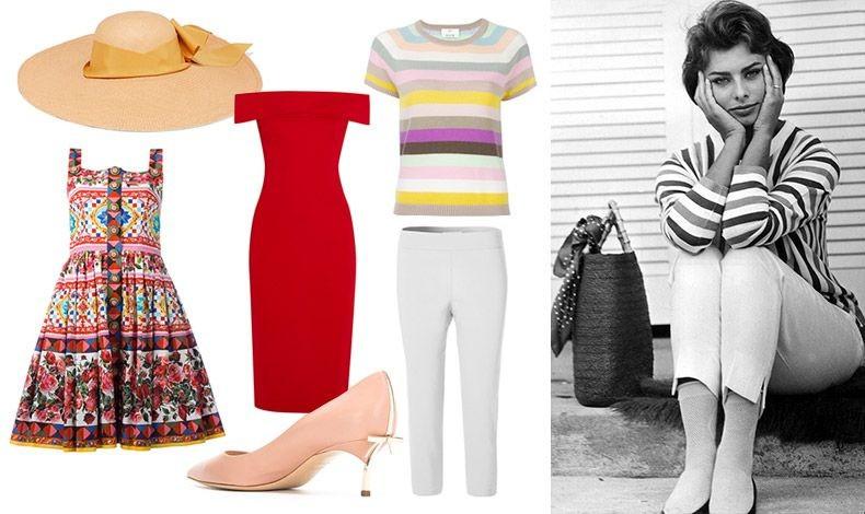 Kαπέλο, Sensi Studio // Φόρεμα, Dolce &Gabbana // Κόκκινο έξωμο φόρεμα, Cuchinie et Ochs // Γόβες με θηλυκή λεπτομέρεια-κορδελάκι, Casadei // Ριγέ μπλούζα, Allude // Λευκό κάπρι, Cleo // Η Σοφία Λόρεν ακόμη και με το πιο απλό ντύσιμο ξεχείλιζε από θηλυκότητα!