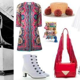 Η Ταλίθα ουσιαστικά εφηύρε το look bohemian chic // Μαντό, Etro // Καπέλο με φουντάκια, Eshvi // Έθνικ βραχιόλια, Sun moon rain // Λευκό τοπ, CO // Μποτάκια, Olivier Teyskens // Κόκκινη τσάντα με κρόσσια, Sara Battaglia // Μακριά φούστα, Liza Marie Fernandez