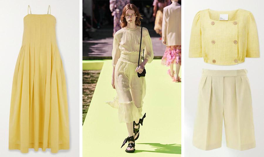 Σε πιο έντονη εκδοχή του παστέλ κίτρινου, μακρύ φόρεμα, Three Graces London // Κοντό σακάκι, Liza Fernandez // Βερμούδα, Max Mara