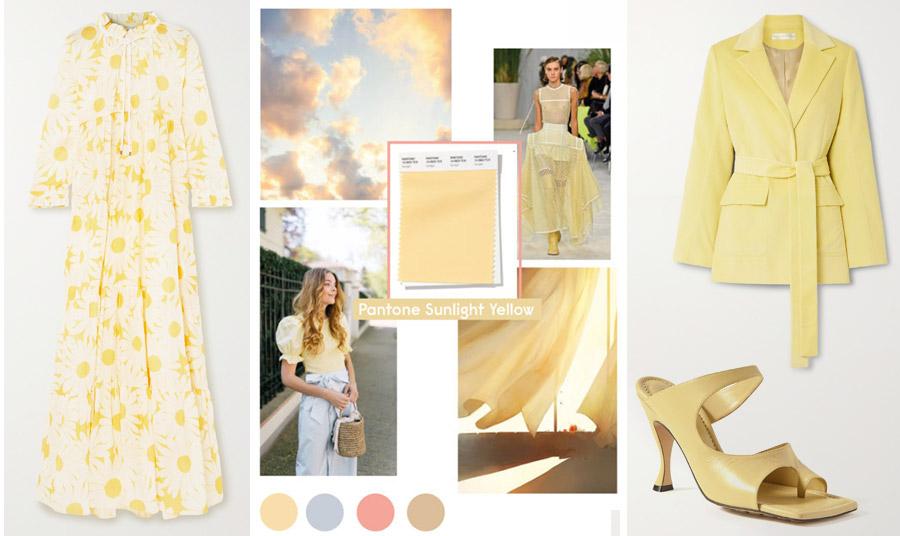 Μακρύ φόρεμα με μαργαρίτες στην απόχρωση της βανίλιας, Eywasouls Malibu // H Pantone ονόμασε αυτή την απόχρωση Sunlight yellow // Σακάκι, Victoria Beckham // Πέδιλο, Bottega Veneta