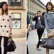 Ένα παριζιάνικο λουκ: Φορέστε ένα μακρύ sweatshirt πάνω από ένα οπάκ καλσόν ή κολάν σαν μίνι φόρεμα // Φορέστε ένα απλό πουλοβεράκι με ένα χαριτωμένο πουκάμισο με μικρούς γιακάδες και μία λουλουδάτη ή ριγέ φούστα