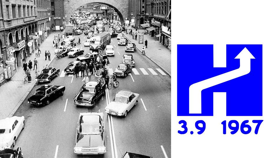 Εκεί που κυκλοφορούσαν στα αριστερά, άλλαξε η κυκλοφορία στα δεξιά, με αποτέλεσμα να σημειωθεί ένα από τα πιο ιστορικά μποτιλιαρίσματα, το οποίο μέχρι σήμερα αποτελεί αντικείμενο μελέτης // Λογότυπο της ημέρας με βελάκι που δείχνει προς τα δεξιά και την ημερομηνία 3-9-1967