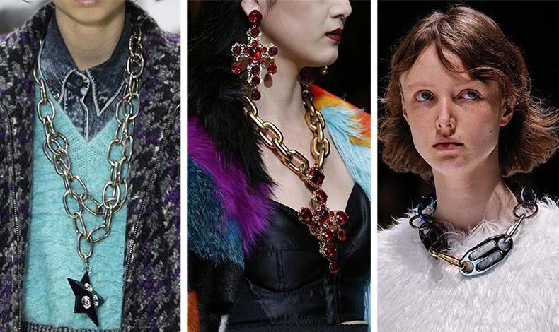 Φορέστε τεράστιες μεταλλικές αλυσίδες με μεταξωτά φορέματα, πλεκτά πουλόβερ, ζακέτες, αλλά και στον καρπό σαν βραχιόλια. Miu Miu // Dolce&Gabbana // Balenciaga
