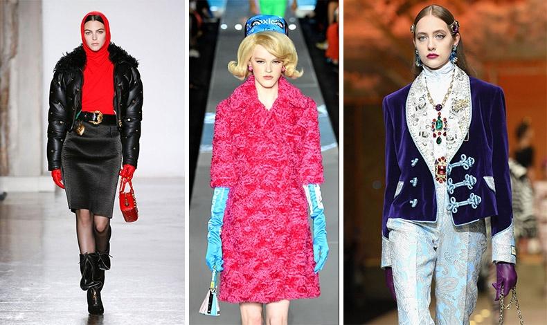 Εντυπωσιακά γάντια τόσο στα χρώματα όσο και στο στιλ είναι πολύ της μόδας! Versace // Jeremy Scott // Dolce&Gabbana
