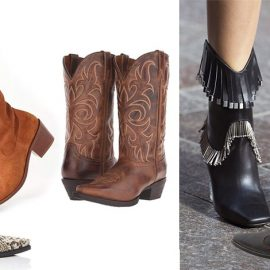 Ετοιμαστείτε για το Far West! Οι καουμπόικες μπότες κάνουν την επανεμφάνισή τους. Σε ταμπά καστόρι, Urban Outfitters // Κροκό, Zimmerman // Σε καφέ δέρμα, Draper James // Με κρόσσια και μεταλλικά στοιχεία, Versus // Με κέντημα τριαντάφυλλο, Best Rose