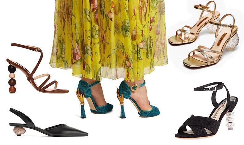 Τα τακούνια σαν μοντέρνα γλυπτά ή με αρτ ντεκό διάθεση κλέβουν τις εντυπώσεις! Με ξύλινες μπίλιες, Jacquemus // Με τακούνι-αβγό, Loewe // Tακούνια σαν χέρι με λεπτομέρειες από πέρλες, Dolce&Gabbana // Με τακούνι-κρύσταλλο, Zara // Στολισμένα γλυπτά με κρύσταλλα, Sophia Webster