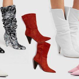 Οι μπότες μέχρι τη μέση της γάμπας είναι μόδα! Στολισμένες με στρας, Free People // Σε κρεμ-λευκό κροκό, Stella McCartney// Κόκκινες σουέντ, Topshop // Από λευκό μαλακό δέρμα, Jimmy Choo // Σε ροζ σουέντ, Τοpshop