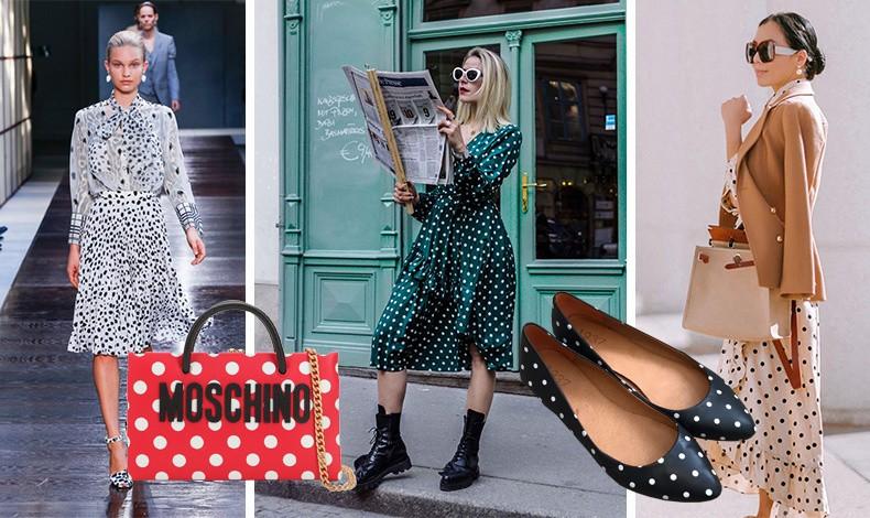 Πουά από τη συλλογή άνοιξη-καλοκαίρι 2019 Burberry // Δοκιμάστε ένα φόρεμα σε σκούρο πράσινο με λευκά πουά για κάθε μέρα// Μπαλαρίνες σε μαύρο-λευκό αλλά και μία κομψή εκδοχή σε λευκό με καφέ για ένα το φόρεμα συνδυασμένο με καμηλό σακάκι