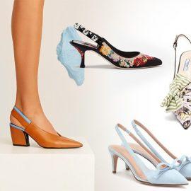 Τα ξώφτερνα παπούτσια είναι μία από τις τάσεις της άνοιξης// Με χοντρό τετράγωνο τακούνι, Pierre Hardy // Με λουλούδια, Dolce&Gabbana // Από ύφασμα και φιόγκους, Prada// Σε παστέλ γαλάζιο, RedV