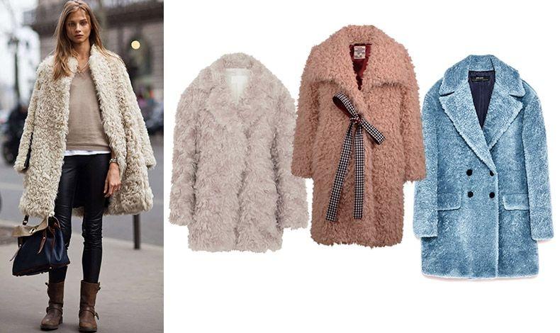 Το «μαλλιαρό» είναι άνετο, ζεστό και μαλακό αλλά προσθέτει επιπλέον όγκο ακόμη και στις πιο λεπτές σιλουέτες // Κοντό πανωφόρι, Maison Margiela // Με καρό φιόγκο στη μέση, Baum und Pferdergarten // Σε γαλάζιο, Zara