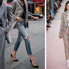 Το ανδρόγυνο λουκ συνεχίζεται! Ένα κοστούμι ή ένα καρό σακάκι με το τζιν σας και ψηλές γόβες είναι εκδοχές που φοριούνται καθημερινά // Από την πασαρέλα Carolina Herrera άνοιξη 2019