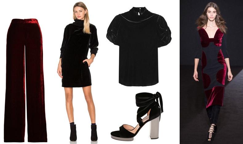 Παντελόνι, Etro // Μίνι ζιβάγκο φόρεμα, ΑΤΜ //Τοπ με ζιβάγκο, Étoile Isabel Marant // Βελούδινο πέδιλο, Valentino // Από την πασαρέλα Roland Mouret