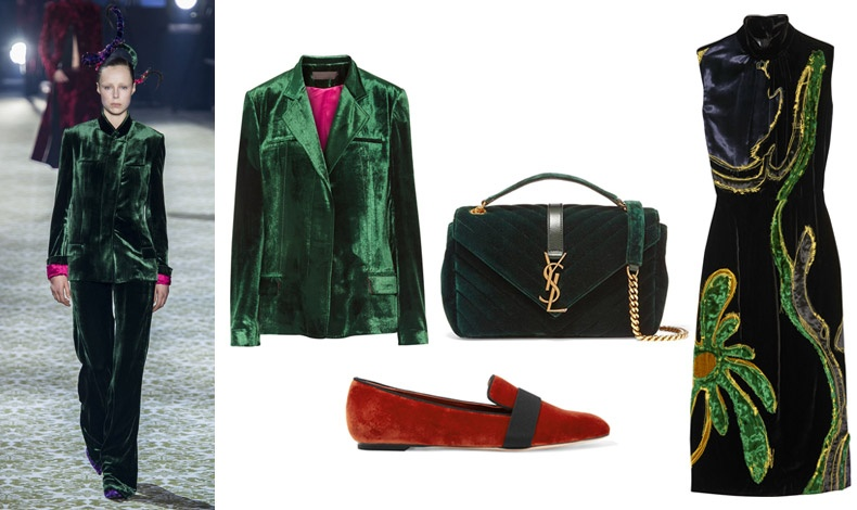 Από την τελευταία κολεξιόν του Haider Ackermann // Σακάκι, Haider Ackermann // Τσάντα, Saint Laurent // Slipper, Alexander McQueen // Φόρεμα, Prada