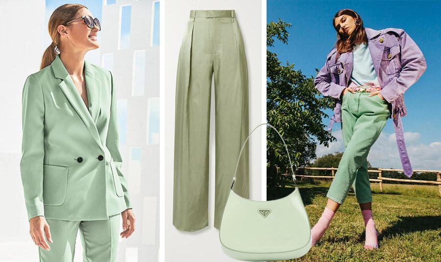 Ένα κοστούμι στην απόχρωση του φασκόμηλου είναι η τελευταία λέξη της μόδας // Παντελόνι, Bottega Veneta // Τσάντα μεσαίου μεγέθους, Prada // Ένας υπέροχος συνδυασμός, παντελόνι στο χρώμα του φασκόμηλου με παστέλ γαλάζιο και λιλά