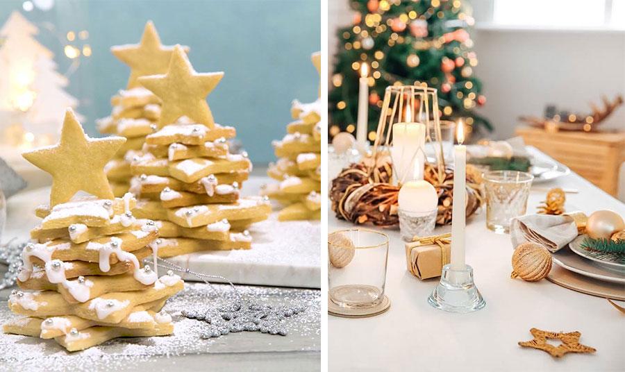 Αστέρια λοιπόν, και για το νόστιμο και «θεαματικό» γλυκό! // Ακόμη και αν είστε οπαδοί του μίνιμαλ, ο συνδυασμός του λευκό με το χρυσό βρίσκει εφαρμογή. Απλά λευκά σερβίτσια και κεριά με χρυσά αστεράκια, μπαλίτσες και ένα στεφανάκι για το κέντρο του τραπεζιού και όλα έτοιμα!