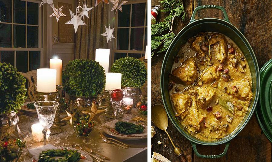 Κρεμάστε από το φωτιστικό μερικά αστράκια και σκορπίστε μερικά χρυσά αστέρια στο τραπέζι. Συνδυάστε χαμηλά βάζα με πράσινα κλαράκια και λευκά κεριά // Ένα αριστουργηματικό πιάτο της γαλλικής κουζίνας που ταιριάζει και στον ελληνικό… ουρανίσκο: Κρασάτος κόκορας, αλλά για την… κομψότητα, η συνταγή με ροζέ κρασί!