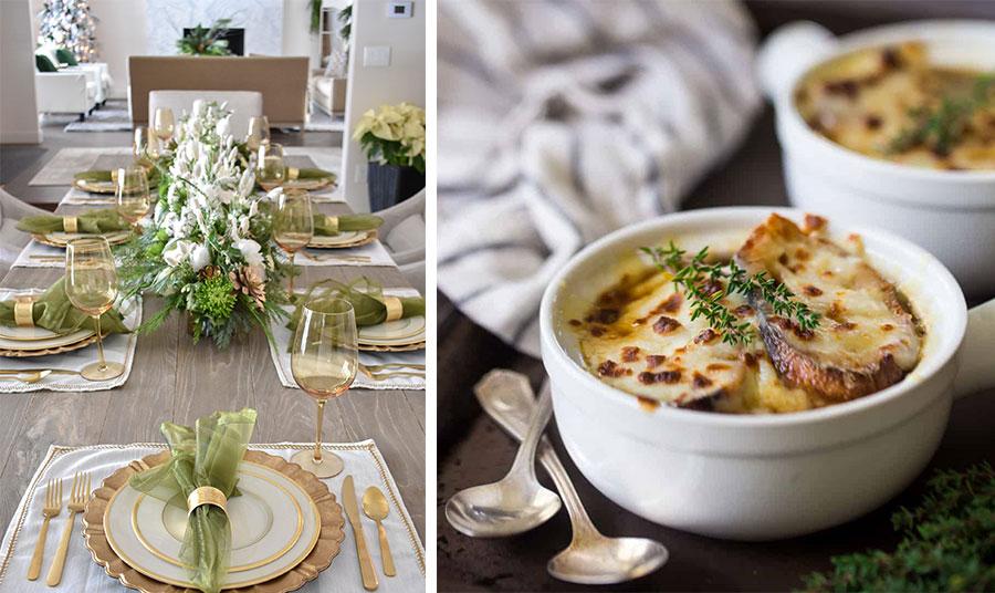 Τι θα λέγατε για έναν κομψό συνδυασμό; Τι πιο λαμπερό και γιορτινό από το χρυσό που ταιριάζει τόσο όμορφα με το ανοιχτό πράσινο // Η γαλλική κρεμμυδόσουπα είναι σίγουρο ότι θα σας κατακτήσει