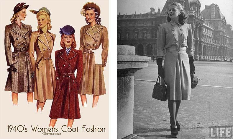 Λόγω της έλλειψης πόρων και, στη συνέχεια, της έλλειψης τροφής κατά τη διάρκεια του Β' Παγκοσμίου Πολέμου, οι γυναίκες επεξεργάζονταν τα ανδρικά κοστούμια. Αυτό είχε ως αποτέλεσμα την εμφάνιση της βάτας, δημιουργώντας μια έντονη φιγούρα κλεψύδρας.