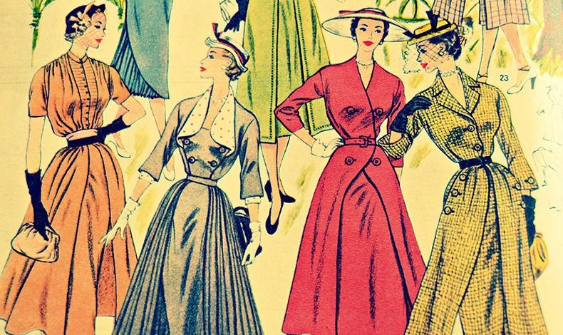 Μετά το Β' Παγκόσμιο Πόλεμο ο κόσμος θέλει να γιορτάσει. Στη δεκαετία του '50 τα ρούχα γίνονται ιδιαίτερα κολακευτικά για το γυναικείο σώμα, τονίζοντας τα ωραιότερα σημεία του, όπως τη μέση, το στήθος, την περιφέρεια